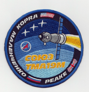 Tim Peake Soyuz TMA-19M Taxi Flight to ISS Embroidered Patch